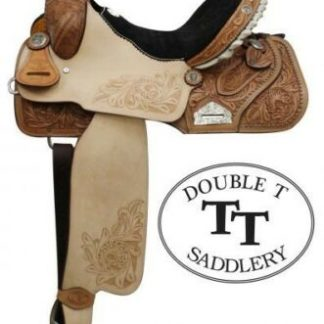 """14"""" Double T Barrel Racing Racer TURQUOISE STONES Embossed Seat Leather Saddle"""