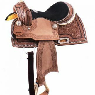 """12"""" Double T Youth Barrel Style Saddle with hand floral tooling"""