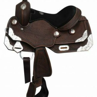 """12"""" Double T Youth/Pony dark oil show saddle.with engraved silver plates"""