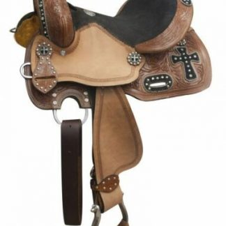 """10 or 12"""" Double T Barrel Saddle with Silver Beaded Black Suede Cross Overlay!"""