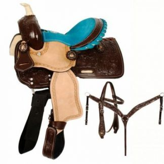 """10"""" Double T Western Pony Saddle Set with Copper Conchos and Teal Suede Seat!"""