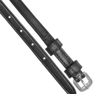 """Black- English Double keeper leather spur straps 3/8"""" wide x 18"""" long"""