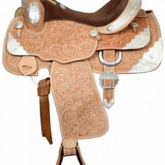 """Double T 16"""" Close Contact SHOW SADDLE Fully Tooled Leather SQHB Tons of SILVER"""