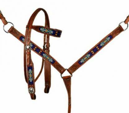 BLUE Beaded Inlay – Aztec Design – Medium Oil - 3 Piece Set-1