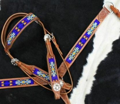 BLUE Beaded Inlay – Aztec Design – Medium Oil - 3 Piece Set