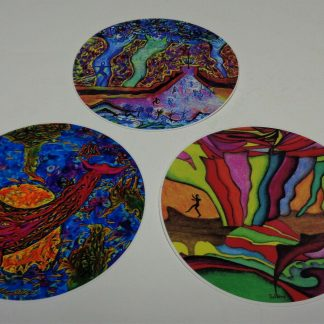 """~New-3--4"""" Disc Golf Art Stickers--Very High Quality. Water + Fade Proof~"""