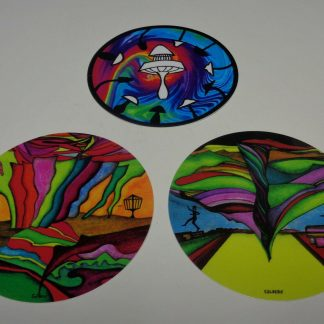 """*New-3--4"""" Disc Golf Art Stickers--Very High Quality. Water + Fade Proof*"""