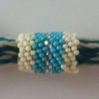 "Beaded braided horsehair strip keyring 3.5"", teal/white/silver, Handmade"