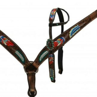 Showman Painted Feathers Headstall, Breast Collar, Reins, Fringes - 3 Piece Tack Set - Medium Oil Leather