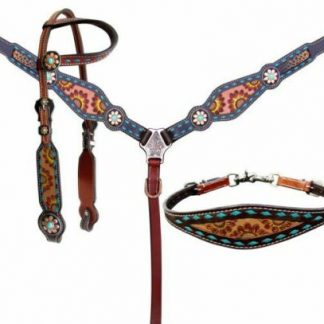 Showman Hand Painted Sunflower Leather Single Ear Headstall, Breast Collar, Reins - 3 Piece Tack Set - Medium Oil Leather