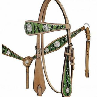 Headstall-Reins-Breastcollar-Leather-Crystal Rowel Conchos-3 Piece Horse Tack Set-Zebra Print-Light Oil-LIME