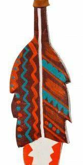"5"" Leather ORANGE & TEAL Hand Painted Southwest FEATHER Tie on SADDLE TASSEL"