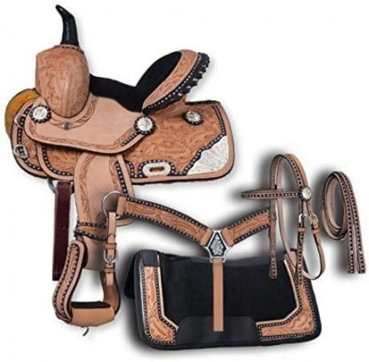 Barrel Racing Youth Pony Horse Saddle Western Leather Matching Leather Headstall + Breast Collar + Reins; 10''-13'' Inches Seat