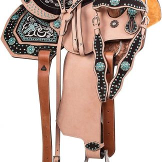 14'' Inch Turquoise Cross Western Horse Saddle + Tack Set - Premium Leather Matching Leather Headstall, Breast Collar, Reins