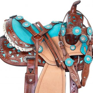 """14"""" Inch Kids Pony Horse Saddle TACK Package - Youth Children Crystal Leather Hand Carved Western Pleasure Trail Show Rodeo Bridle Breastplate"""