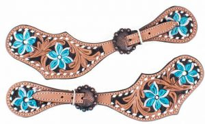 Showman Ladies Hand Painted Turquoise Flower Leather Spur Straps