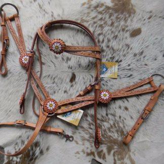 Beaded Light Oil Leather Western Horse Headstall & Breast Collar Set