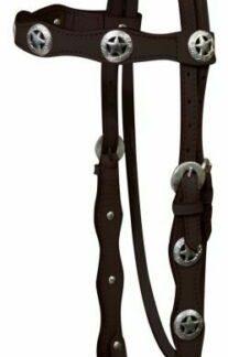 Western Leather Headstall w/ Silver Texas Star Conchos & Reins