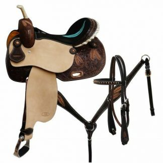 Circle S BARREL SADDLE Feather Tooled matching Bridle Breast Collar & Reins SET