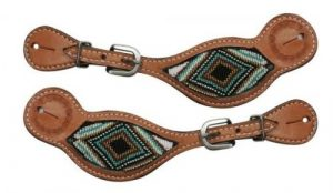 Showman LIGHT OIL Argentina Cow Leather Spur Straps w/ Beaded Inlay!! NEW TACK!!