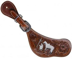 Showman Floral Tooled Leather Spur Straps w/ Cowhide & Praying Cowboy! NEW TACK!