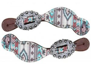Showman LADIES Western Spur Straps w/ Multi Color Navajo Design! NEW HORSE TACK!