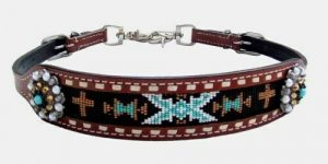 Showman Leather Wither Strap w/ TEAL Cross & Navajo Beaded Inlay! NEW HORSE TACK
