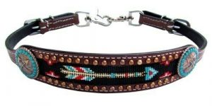 Showman Leather Wither Strap w/ TURQUOISE & RED Arrow Beaded Inlay!! HORSE TACK!