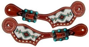 Showman LADIES Leather Spur Straps w/ TURQUOISE Navajo Beaded Inlay!! NEW TACK!!