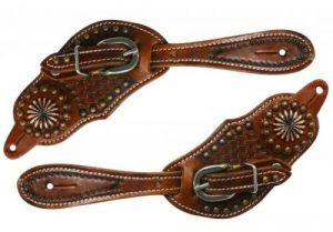Showman YOUTH Basket Weave Tooled Leather Spur Straps w/ Copper Accents NEW TACK