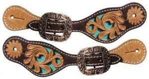 Showman YOUTH Floral Tooled Leather Spur Straps w/ TURQUOISE Inlay!! NEW TACK!!