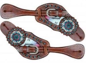 Showman Leather Spur Straps w/ Pastel Navajo Design & Rhinestones NEW HORSE TACK