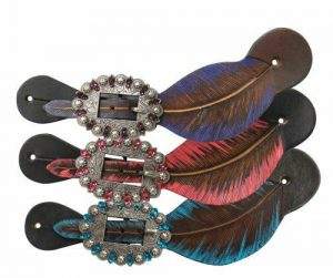 Showman Leather Spur Straps w/ PINK Hand Painted Feather Design! NEW HORSE TACK!