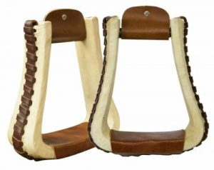 Showman Rawhide Covered Pleasure Style Stirrups w/ Leather Lacing NEW HORSE TACK