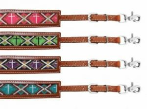 Showman Medium Oil Leather Wither Strap w/ Beaded Cross Inlay