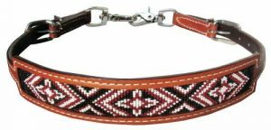 Showman Medium Leather Wither Strap w/ Red Beaded Cross Design Inlay