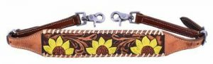 Showman Leather Hand Painted Sunflower Design Wither Strap