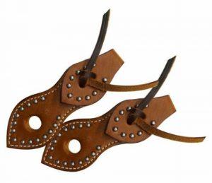 Showman Silver Studded Leather Slobber Straps