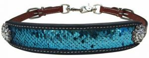 Showman Medium Leather Wither Strap w/ Teal & Silver Sequins Inlay
