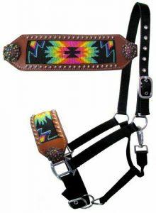Showman Leather Noseband Bronc Halter w/ Beaded Rainbow Navajo Design
