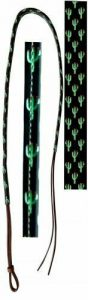Showman 4' Leather Over & Under Whip w/ Cactus Print Overlay