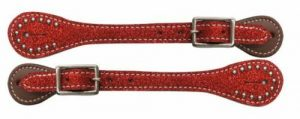 Showman Ladies Leather Spur Straps w/ Glitter Overlay