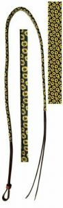 Showman 4' Leather Over & Under Whip w/ Sunflower Print Overlay