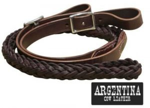 Showman 7 1/2' Argentina Cow Leather Braided Contest Reins!! NEW HORSE TACK!!