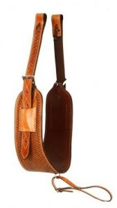 """Showman 7"""" Basket Weave Tooled Heavy Duty Leather Backrigging! NEW HORSE TACK!"""