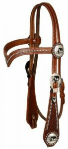 Showman Silver Beaded V Brow Leather Headstall w/ Praying Cowboy Conchos & Reins