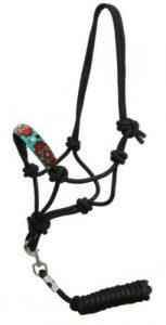 Showman Cowboy Knot Rope Halter w/ Beaded Navajo Design Noseband! NEW HORSE TACK