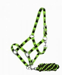 3-Ply Nylon Horse Halter w/ Embroidered Check Pattern & Lead