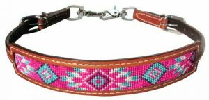 Showman Medium Leather Wither Strap w/ Pink Navajo Design Inlay
