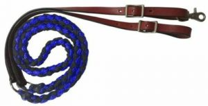 Showman 8' Nylon Braided Roping Reins w/ Leather Ends